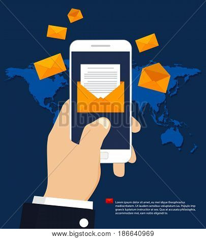 Sending or receiving mobile email, flat design. E-mail marketing.