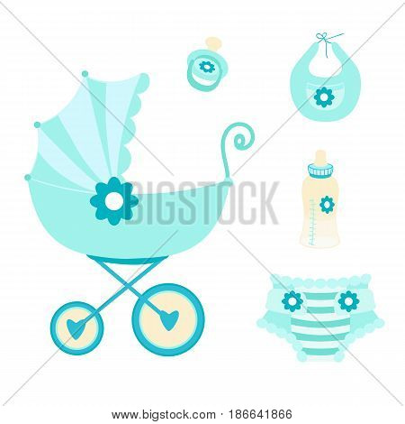 Set the first things a newborn baby on a white background.The stroller, bottle of milk, pacifier, bib, diaper.Vector illustration for a boy.Design elements in blue color for scrapbooking, kids website.