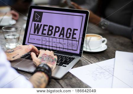 Hand using laptop with digital website graphic
