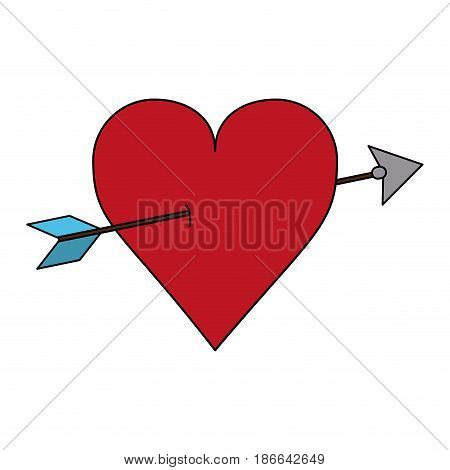 color image red heart pierced by arrow vector illustration