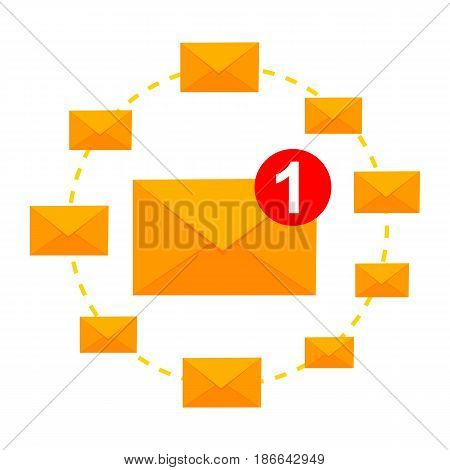 Email marketing concept. Receive and Sending email. Vector illustration isolated on white background. Flat design.
