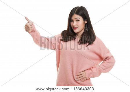 Asian Woman Thumbs Up  And Smile.