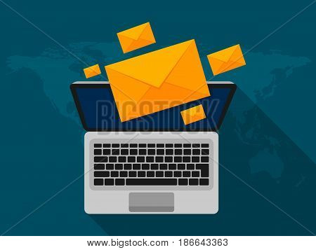 Laptop and envelope on screen with long shadow. E-mail concepts. Email marketing. Vector illustration flat design.