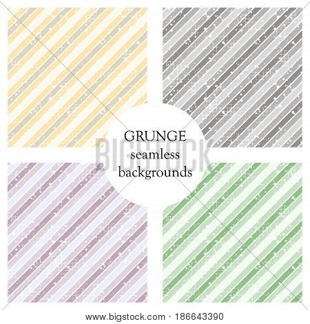 Set of seamless vector patterns. Geometric striped backgrounds with diagonal lines. Grunge texture with attrition, cracks and ambrosia. Old style vintage design. Graphic illustration.
