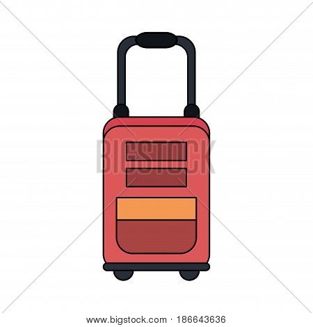color image red travel suitcase with handle vector illustration