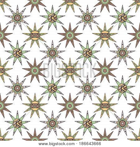 Vector seamless hand drawn pattern, decorative stylized vintage childish tribal sun with lights. Doodle style, tribal graphic illustration Line drawing. Series of doodle, cartoon, sketch illustrations