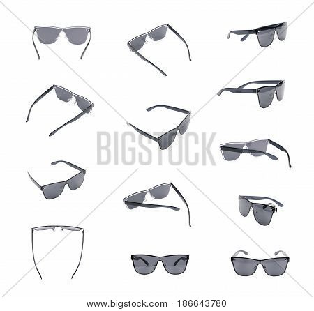 Pair of black shade sunglasses isolated over the white background, set of multiple different foreshortenings