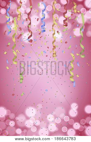 Curly paper ribbon and confetti on blurred pink background. Vector Illustration, perfect for New year or birthday card.