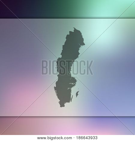 Sweden map on blurred background. Silhouette of vector Sweden map.