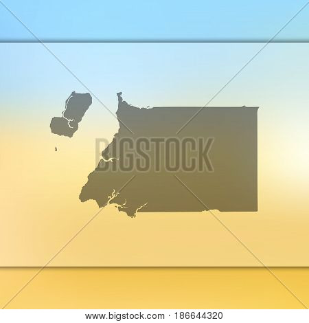 Equatorial Guinea map on blurred background. Silhouette of vector Equatorial Guinea map.