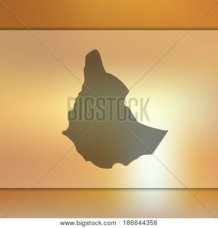 Ethiopia map on blurred background. Silhouette of vector Ethiopia map.