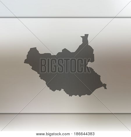South Sudan map. Blurred background with silhouette of vector South Sudan map.