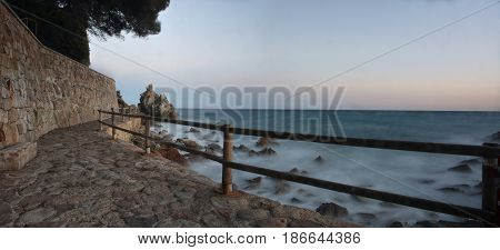 Landscape Sea Of The Costa Brava With Rocks And Waves