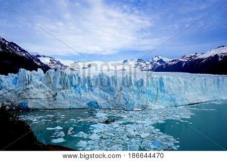 Perito Moreno Glacier in Patagonia of Argentina on a sunny day.