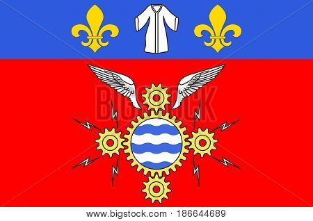 Flag of Argenteuil is a commune in the northwestern suburbs of Paris France. 3d illustration