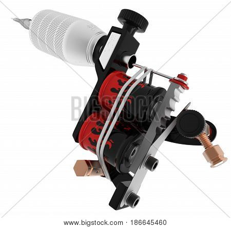 Metallic black silver tattoo machine with red fire coils closeup. 3D illustration