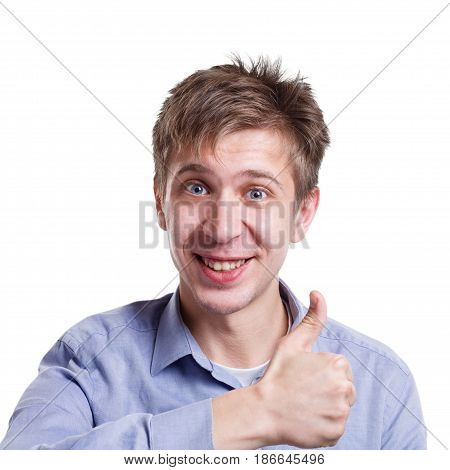 Good work. Happy man with thumb-up gesture smiling to camera on white isolated studio background