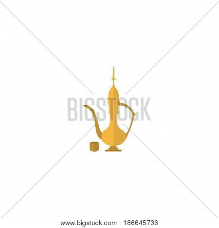 Flat Oriental Jug Element. Vector Illustration Of Flat Pitcher Isolated On Clean Background. Can Be Used As Oriental, Jug And Pitcher Symbols.