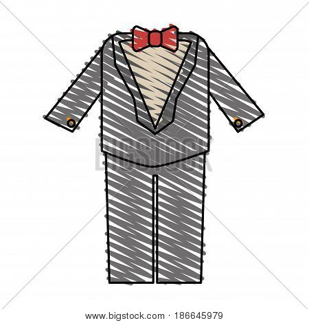 color crayon stripe image wedding suit male with bowtie vector illustration