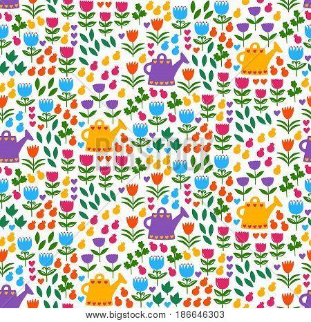 Cute colorful floral leica garden seamless vector pattern