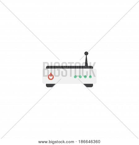 Flat Modem Element. Vector Illustration Of Flat Router Isolated On Clean Background. Can Be Used As Router, Modem And Wifi Symbols.