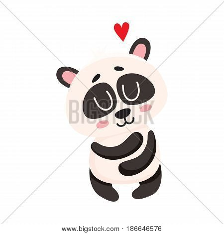 Cute and funny smiling baby panda character hugging itself, showing love, cartoon vector illustration isolated on white background. Cute little panda bear character, mascot, symbol of love