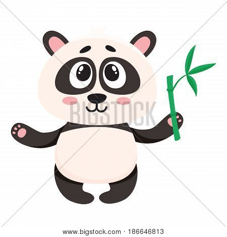 Cute and funny smiling baby panda character holding bamboo branch in paw, cartoon vector illustration isolated on white background. Cute little panda bear character, mascot with bamboo leaves