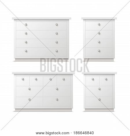 Vector set of different white drawers, nightstands or bedside tables with handles front view isolated on background