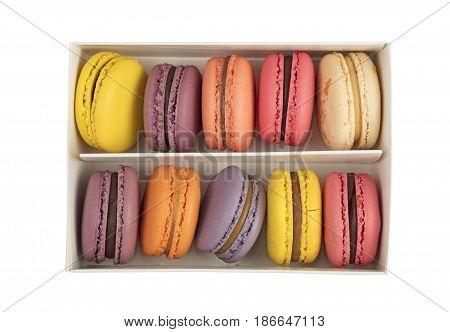 Box Of French Macaron Cookies Isolated On White
