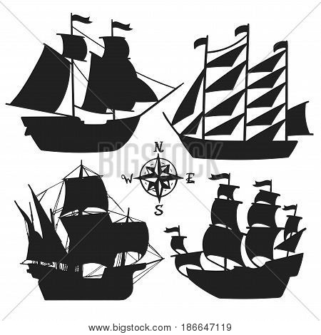 Set of simple sketch illustrations of old sailboats, pirate ships with a sail, vector, silhouette isolated for design