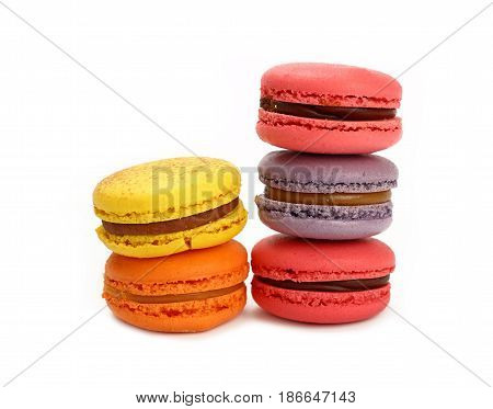 French Sweet Macaron Cookies Isolated On White
