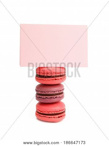 French Macaron Cookies With Sign Isolated On White