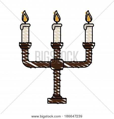 color crayon stripe image candlestick with base and candles vector illustration