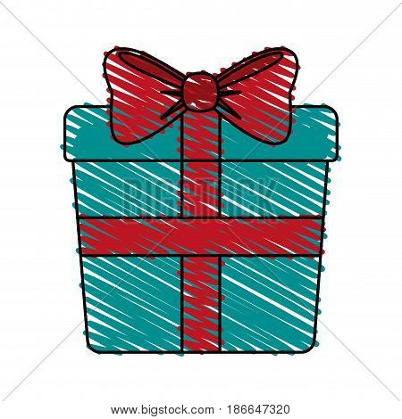 color crayon stripe image giftbox with wrapping bow vector illustration