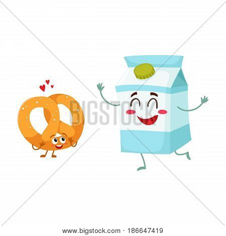 Hot crispy German pretzel and milk box characters, best breakfast combination, cartoon vector illustration isolated on a white background. Crispy pretzel and milk box characters with smiling faces
