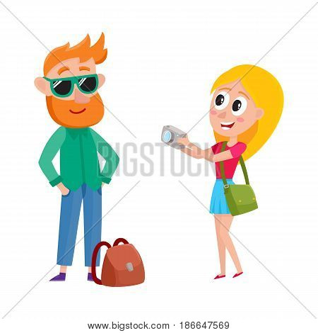 Couple of tourists, man and woman, on vacation tour, making photo, cartoon vector illustration isolated on white background. Man in sunglasses posing for woman making photo, travelling, sightseeing