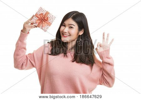 Young Asian Woman Show Ok With A Gift Box.