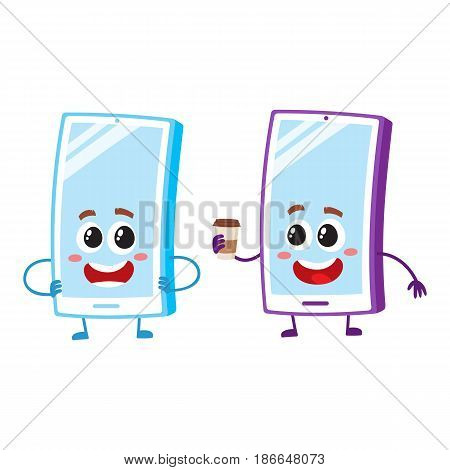 Two cartoon mobile phone characters, one arms akimbo, another holding paper coffee cup, vector illustration isolated on white background. Two cartoon mobile phone, smartphone characters