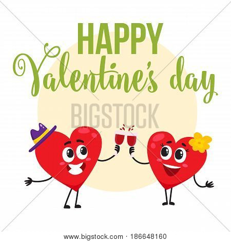 Valentine day greeting card, postcard, banner design with two heart characters clinking glasses, cartoon vector illustration. Greeting card design with two heart characters celebrating Valentine day
