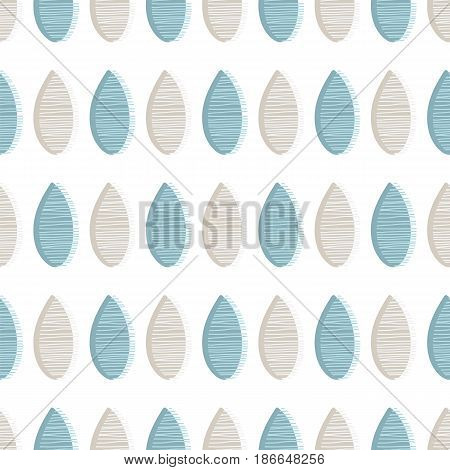 Abstract seamless vector pattern. Blue and grey drops with lines on white background. Fabric ornament illustration