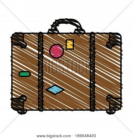 color crayon stripe image travel briefcase with handle vector illustration