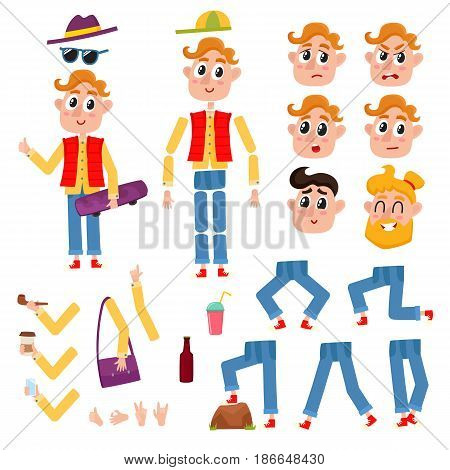 Hipster man character creation set with different gestures and emotions, cartoon vector illustration on white background. Funny hipster, young man creation set, moving arms, legs, animation ready