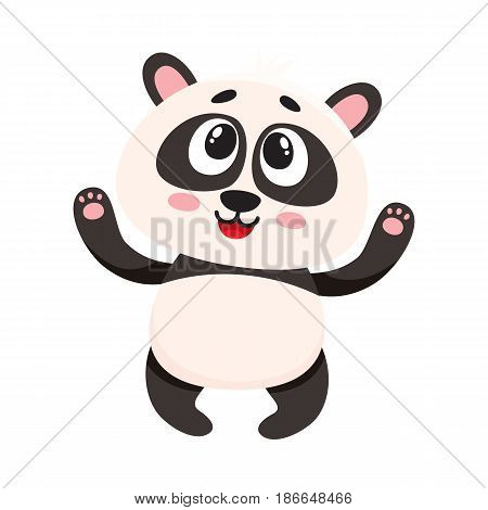Cute and funny smiling baby panda character looking up, cartoon vector illustration isolated on white background. Cute little panda bear character, mascot with paws raised up