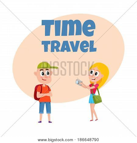Travel time poster, banner, postcard design with tourist couple, cartoon vector illustration on white background. Travel agency, tour ad design template with cartoon, comic tourist, man and woman