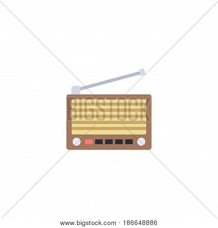 Flat Retro Tuner Element. Vector Illustration Of Flat Radio Isolated On Clean Background. Can Be Used As Radio, Fm And Tuner Symbols.