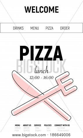 Pizza web site with menu line, fork and knife minimal style