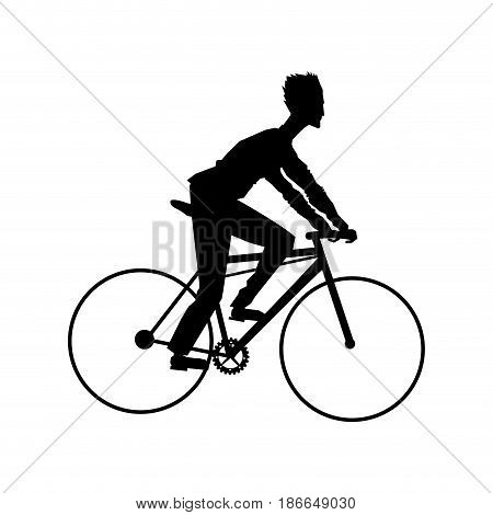 silhouette man riding cycle transport vector illustration