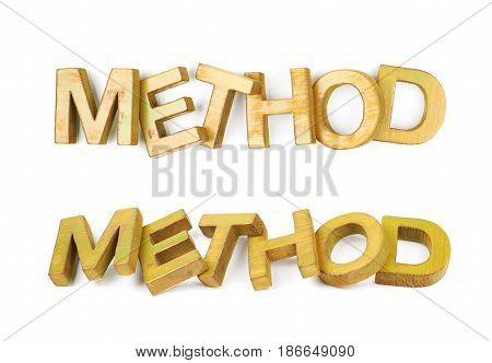 Word Method made of colored with paint wooden letters, composition isolated over the white background, set of two different foreshortenings
