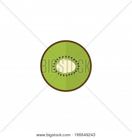 Flat Kiwi Element. Vector Illustration Of Flat Exotic Dessert  Isolated On Clean Background. Can Be Used As Kiwi, Exotic And Fruit Symbols.