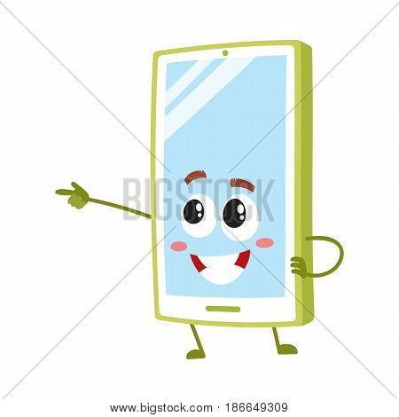 Cartoon mobile phone, smartphone character pointing to something with finger, vector illustration isolated on white background. Cartoon mobile phone, smartphone character drawing attention, pointing